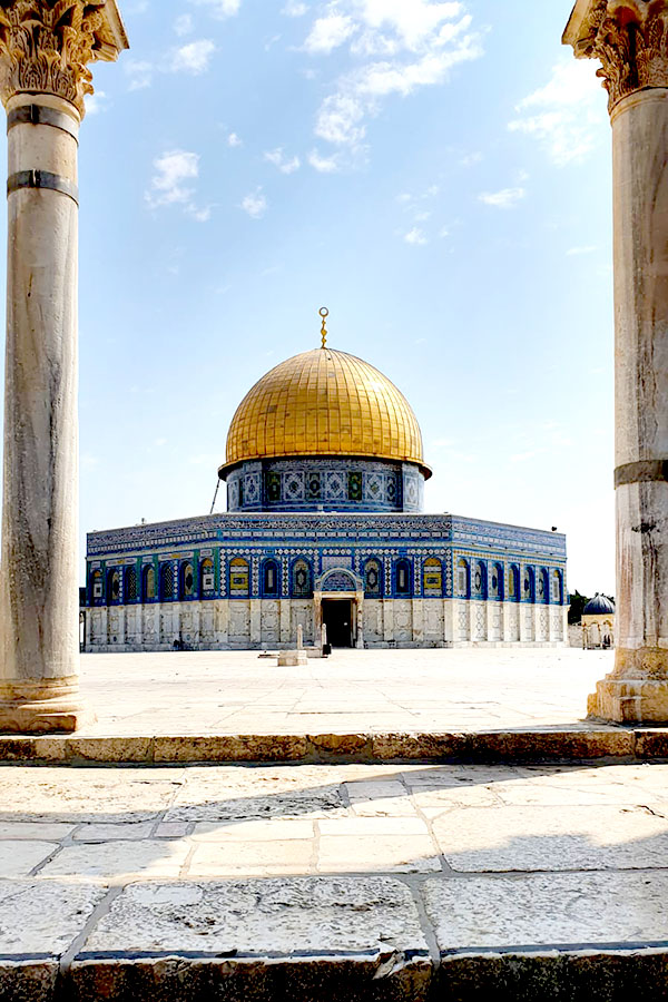Dome of the Rock between two pillars